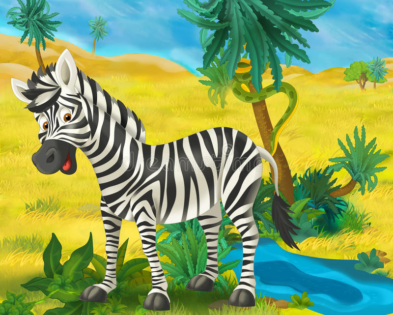 Cartoon scene - wild africa animals - zebra royalty free illustration