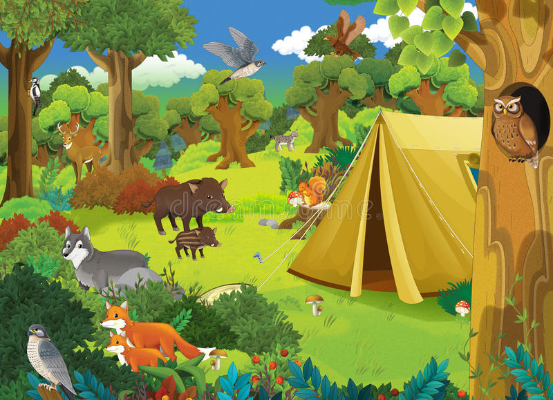 Cartoon scene with wild animals in the forest and camping - tent royalty free illustration