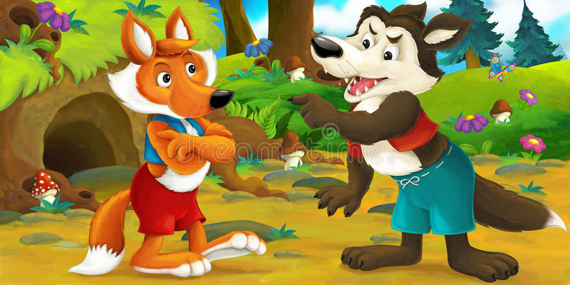 Cartoon scene of a wolf visiting fox - they are talking. Happy and funny traditional illustration for children - scene for different usage stock illustration