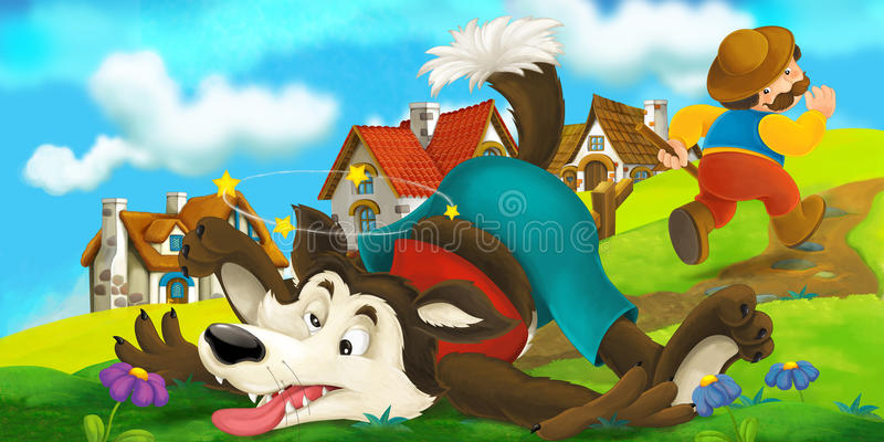 Cartoon scene of a wolf that was beaten up by a farmer stock illustration
