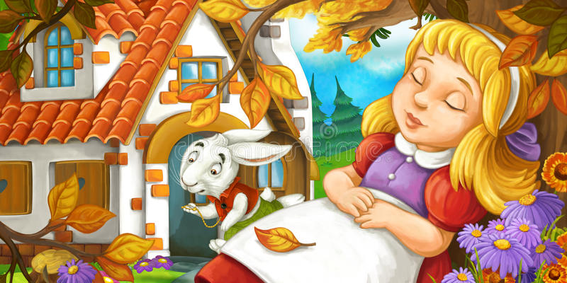Cartoon scene with young girl sleeping in the forest under the tree near cute farm house running funny looking rabbit. Happy and funny traditional illustration stock illustration