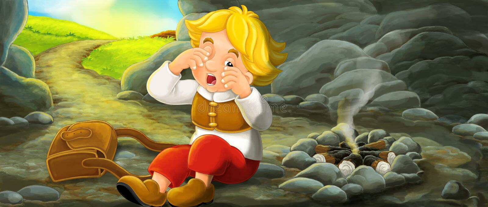 Cartoon scene of young traveler waking up in the cave during his trip - vintage looking person stock illustration