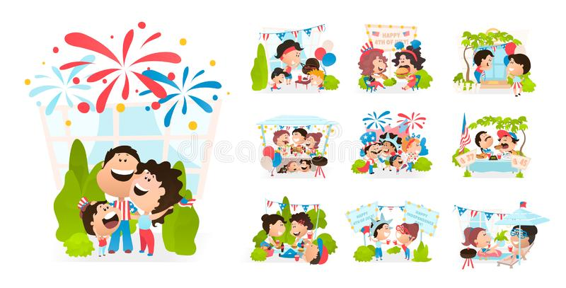 Cartoon scenes of American people celebrating independence day. Watching fireworks, making BBQ meat, meeting with family and friends, decorate their house royalty free illustration