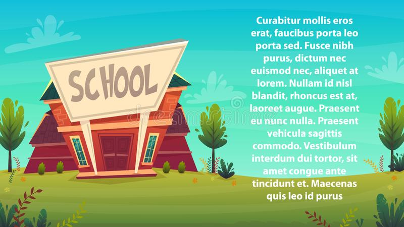 Cartoon school background wallpaper place for text sign funny cheerful card poster . vector illustration vector illustration