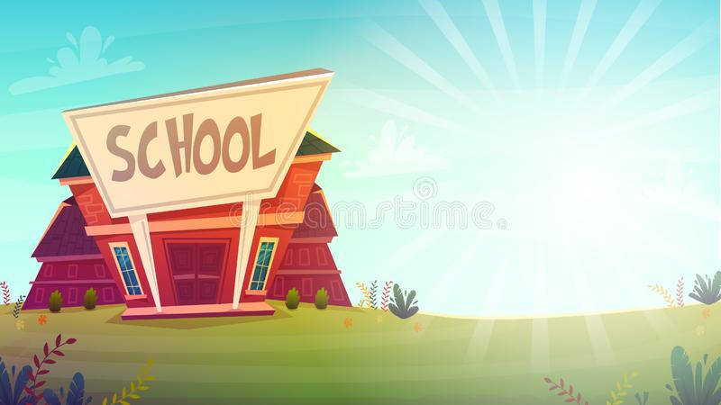 cartoon school background wallpaper place for text sign funny cheerful card poster . vector illustration stock illustration