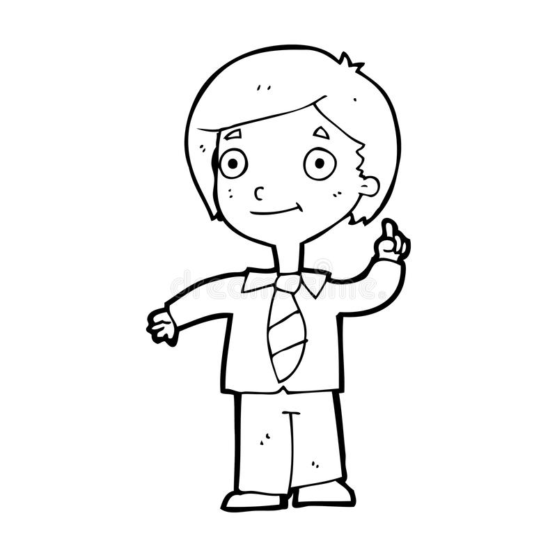 Vector Drawing Lines Questions : Cartoon school boy answering question stock illustration