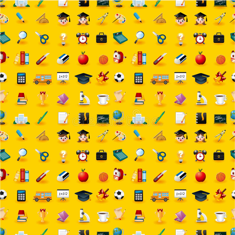 Cartoon School Icons Seamless Pattern Royalty Free Stock Photo