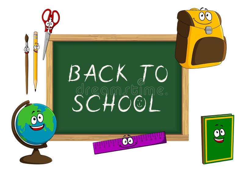 Classroom Blackboard Design ~ Cartoon school supplies with blackboard stock vector