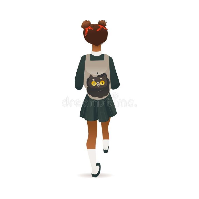Cartoon-schoolmeisje met rugzak uit achteraanzicht - klein kind in uniform stock illustratie
