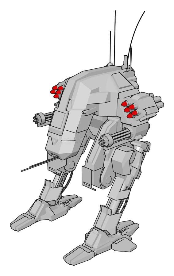 Cartoon Sci-fi de ilustração vetorial de robô cinza ilustração stock