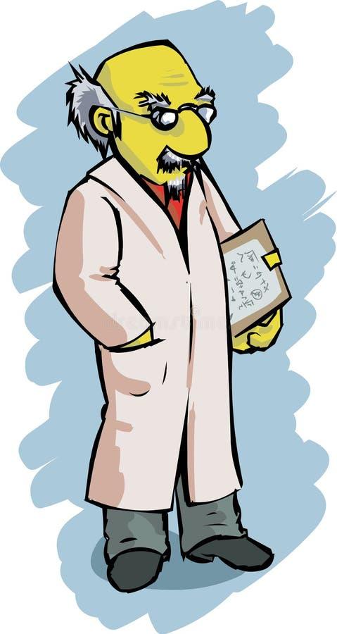 Cartoon scientist royalty free stock photo