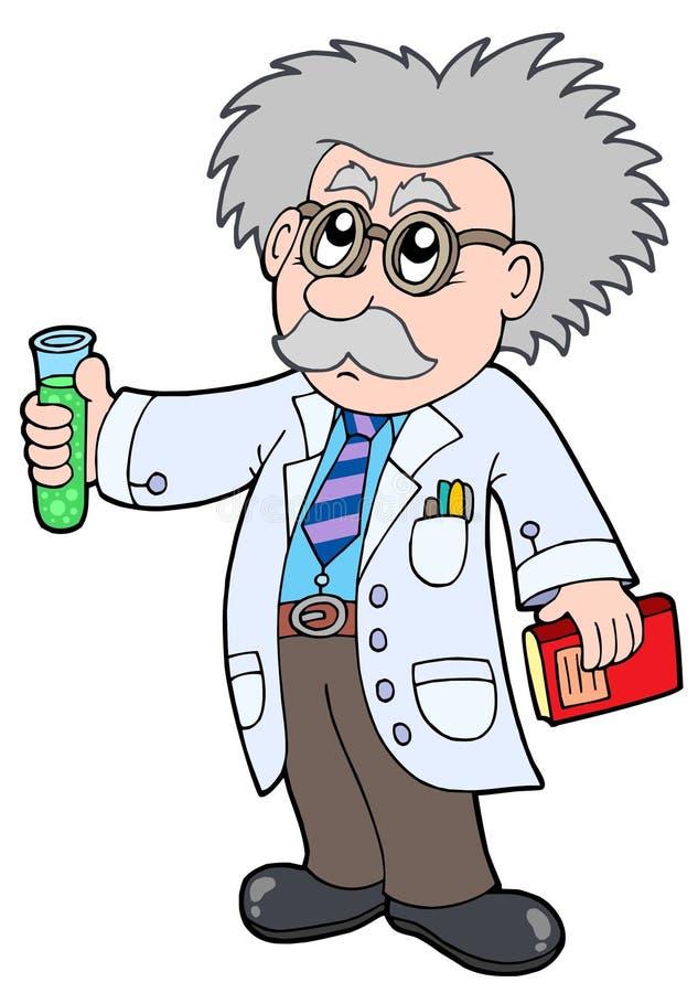 Cartoon scientist - vector illustration