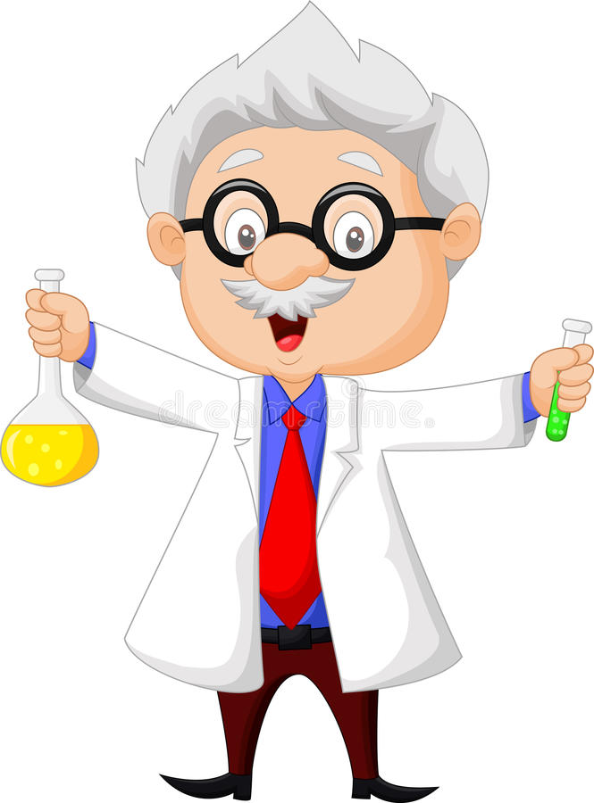 Cartoon scientist holding chemical flask. Illustration of Cartoon scientist holding chemical flask stock illustration