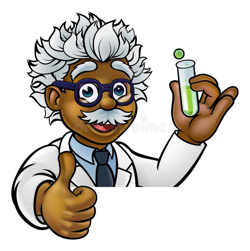 Cartoon Scientist Holding Test Tube Thumbs Up. A cartoon scientist professor wearing lab white coat peeking above sign with a test tube and giving a thumbs up stock illustration