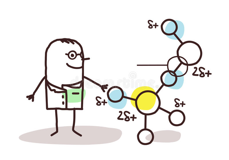 Cartoon scientist with molecule. Vector cartoon scientist with molecule royalty free illustration