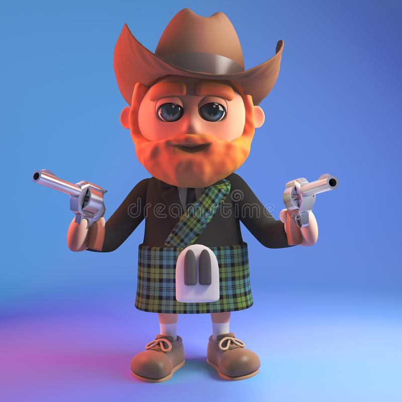Cartoon Scottish man in kilt wearing a cowboy stetson hat and holding two guns, 3d illustration vector illustration