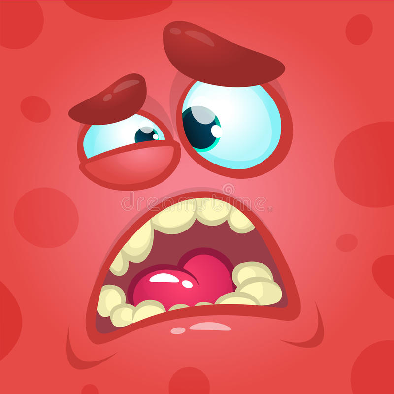 Cartoon screaming monster face. Vector Halloween red angry monster avatar stock illustration