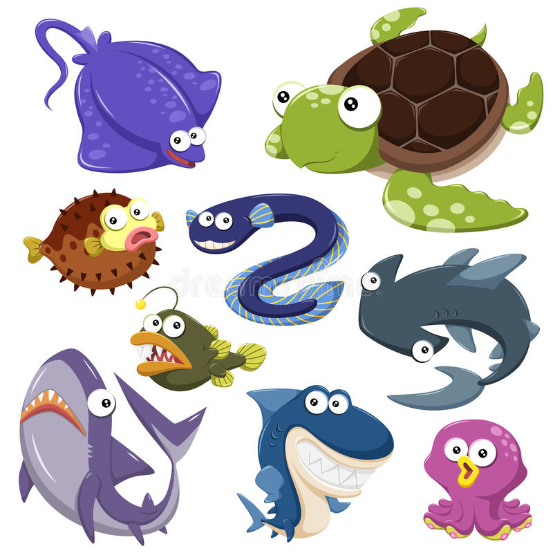 Download Cartoon Sea Animal Illusration Collection Stock Vector - Image: 33448130
