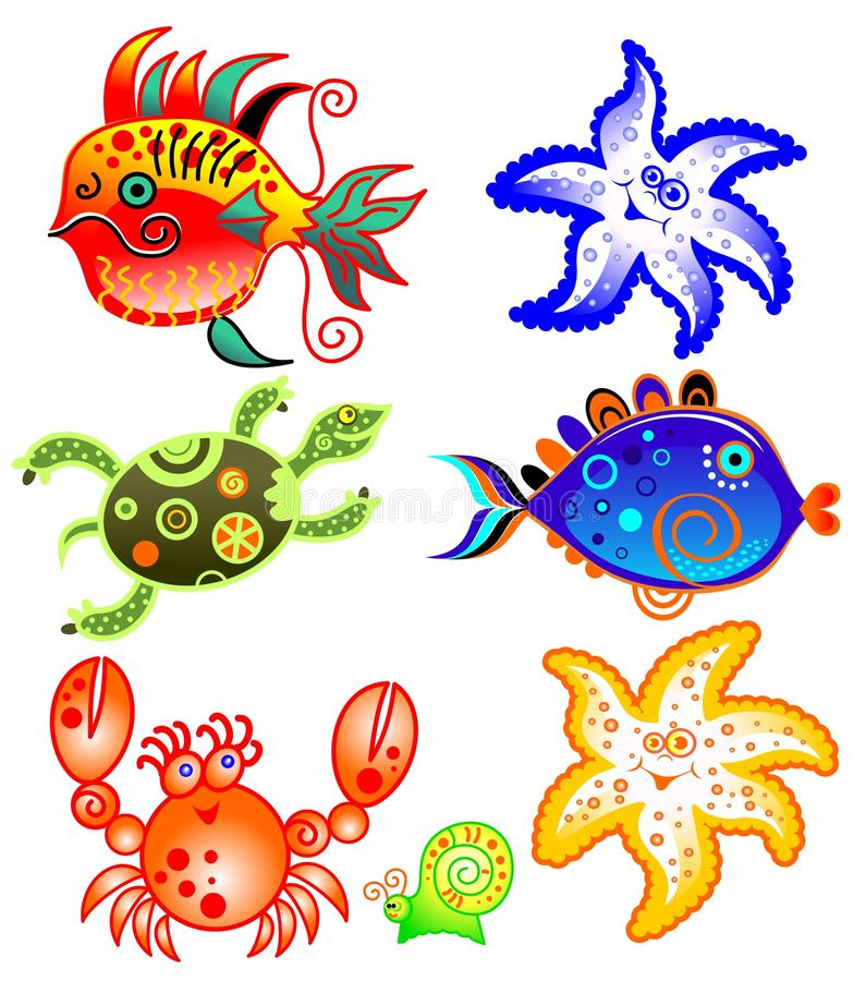 Download Cartoon sea characters set stock vector. Image of group - 24943290