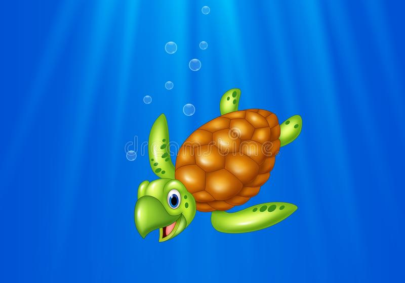 Cartoon sea turtle swimming in the ocean vector illustration
