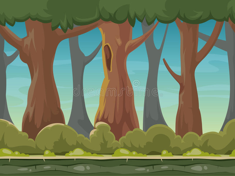 Cartoon seamless forest vector background for smartphone app and computer games. Green wood with trees gui illustration vector illustration