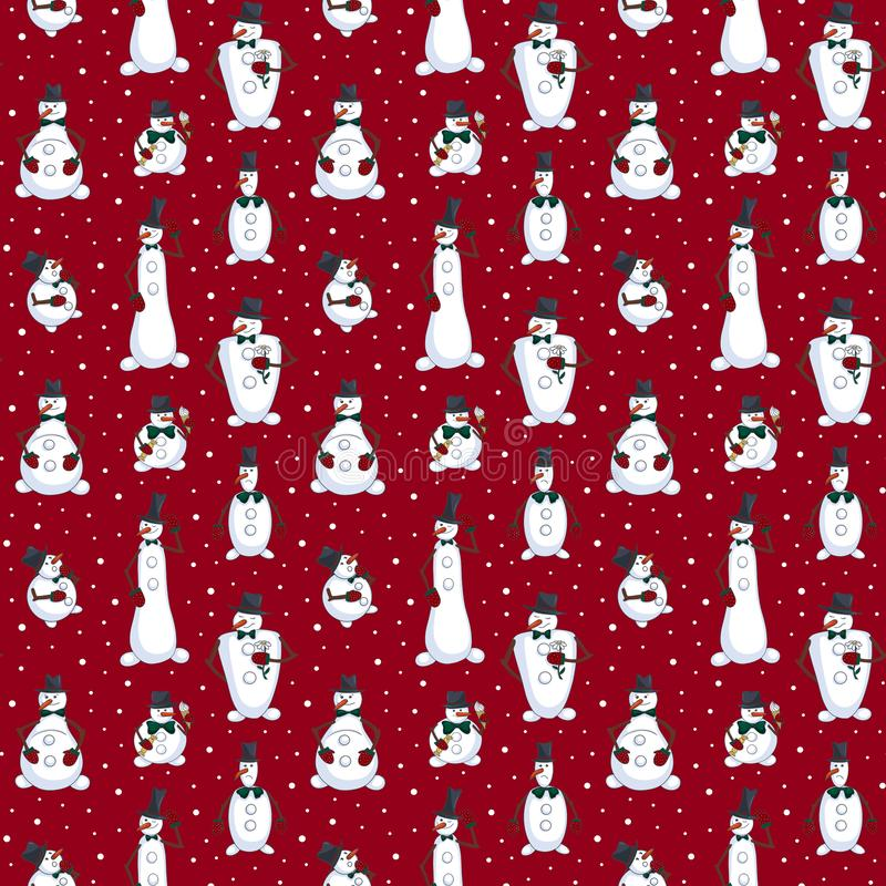 Cartoon seamless pattern with Christmas and holiday characters: various snowmen and snowflake on red background stock illustration