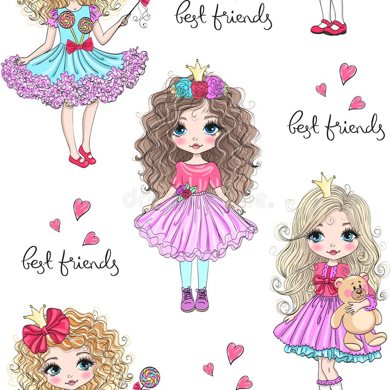 Cartoon seamless pattern with hand drawn cute little princess girls. Vector illustration. stock illustration