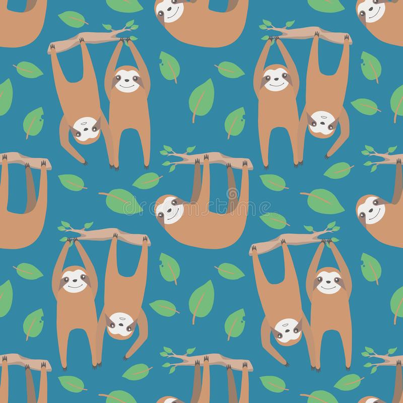 Cartoon seamless pattern with hanging sloth animals and leaves on blue background royalty free illustration