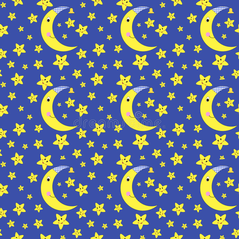 Cartoon seamless pattern. Moon and stars seamless pattern vector illustration