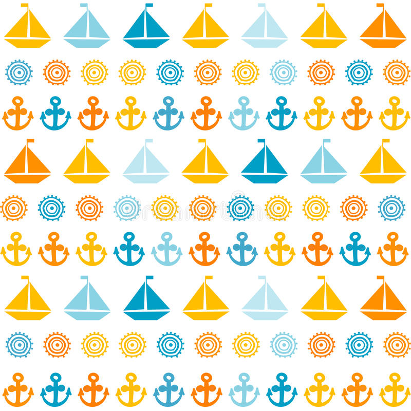 Cartoon seamless pattern with sail boats, anchors and stylized s royalty free illustration