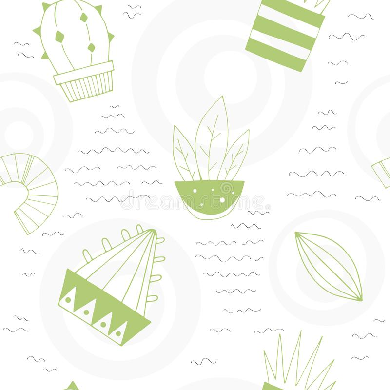 Cartoon seamless vector pattern with cute cacti and decorative elements. stock illustration