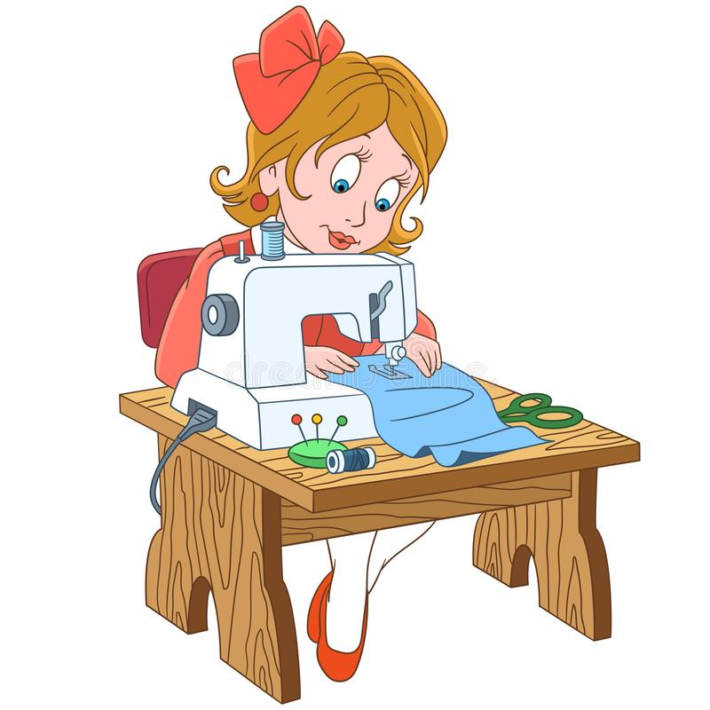 Cartoon seamstress working on electric sewing machine. Kids in Professions. Cartoon seamstress tailor, working on electric sewing machine. Design for children`s stock illustration