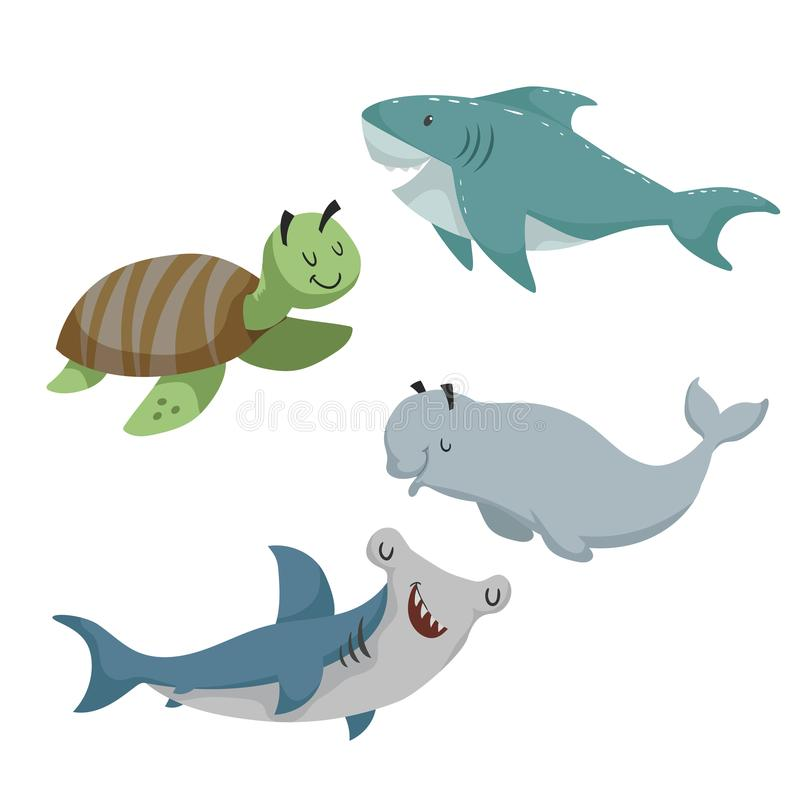 Cartoon sean animals set. Sea turtle, shark, hammerhead fish, beluga white whale. Sea and ocean animals. stock illustration