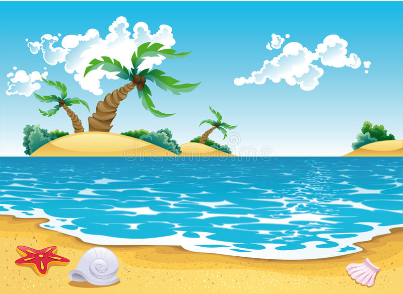 Cartoon seascape stock illustration