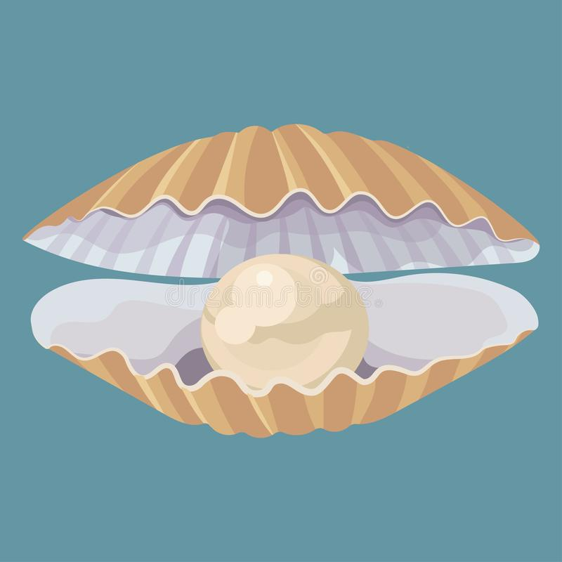 Free Cartoon Seashell With A Pearl. Seashell. Vector Illustration Of A Clam. Drawing For Children. Royalty Free Stock Photography - 157659737