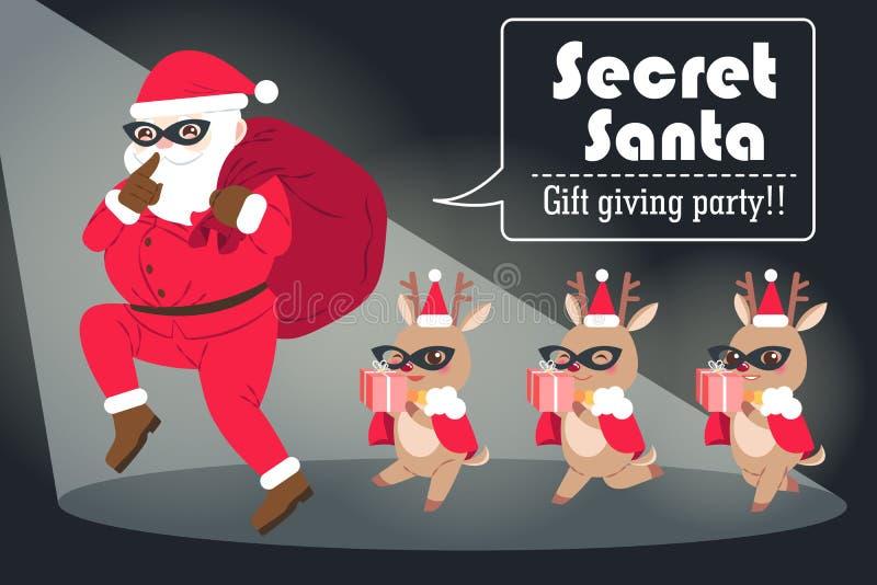 Cartoon secret santa vector illustration