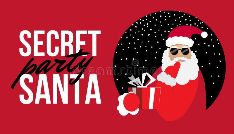 Cartoon Secret Santa Perty Christmas flat illustration. Cartoon Secret Santa Christmas flat illustration stock illustration