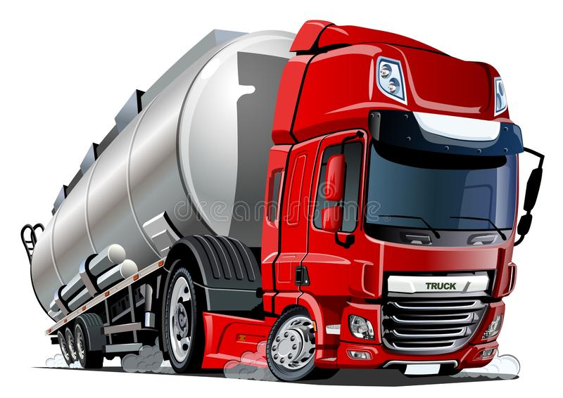 Cartoon semi tanker truck isolated on white background stock illustration