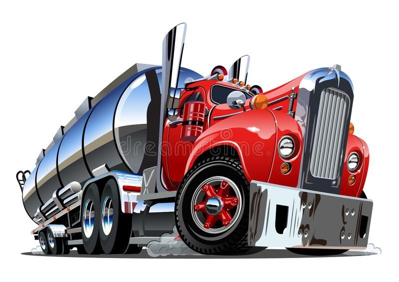 Cartoon semi tanker truck isolated on white background vector illustration