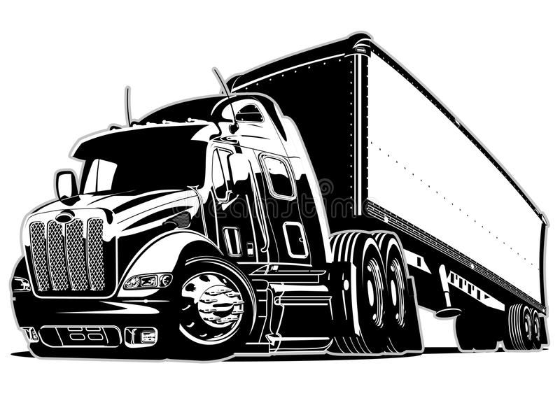 Cartoon semi truck. Available EPS-8 vector format separated by groups and layers for easy edit vector illustration
