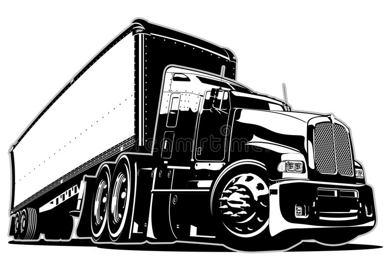 Cartoon semi truck. Available EPS-8 vector format separated by groups and layers for easy edit stock illustration