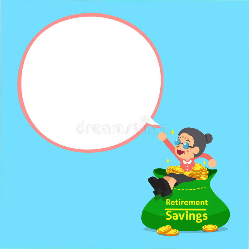 Cartoon senior woman and big money bag with white speech bubble. For design stock illustration