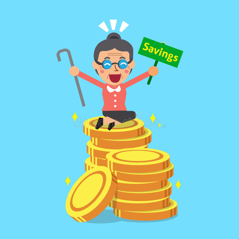 Cartoon senior woman with money coins. For design vector illustration