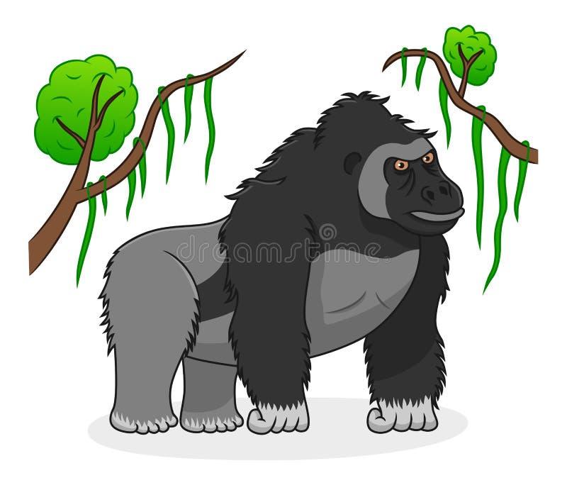 Cartoon serious gorilla vector illustration