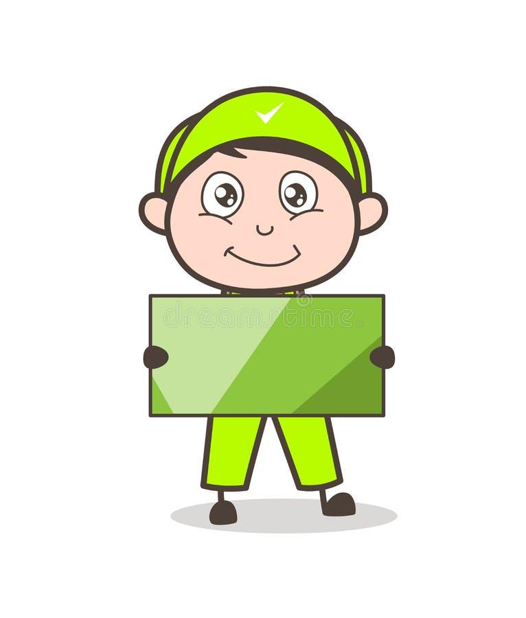 Cartoon Service Boy Holding a Blank Message Board Vector Illustration royalty free illustration