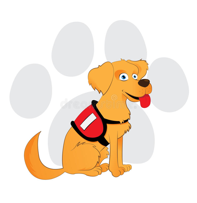 Cartoon Service Dog Sitting On A Paw Background Stock ...