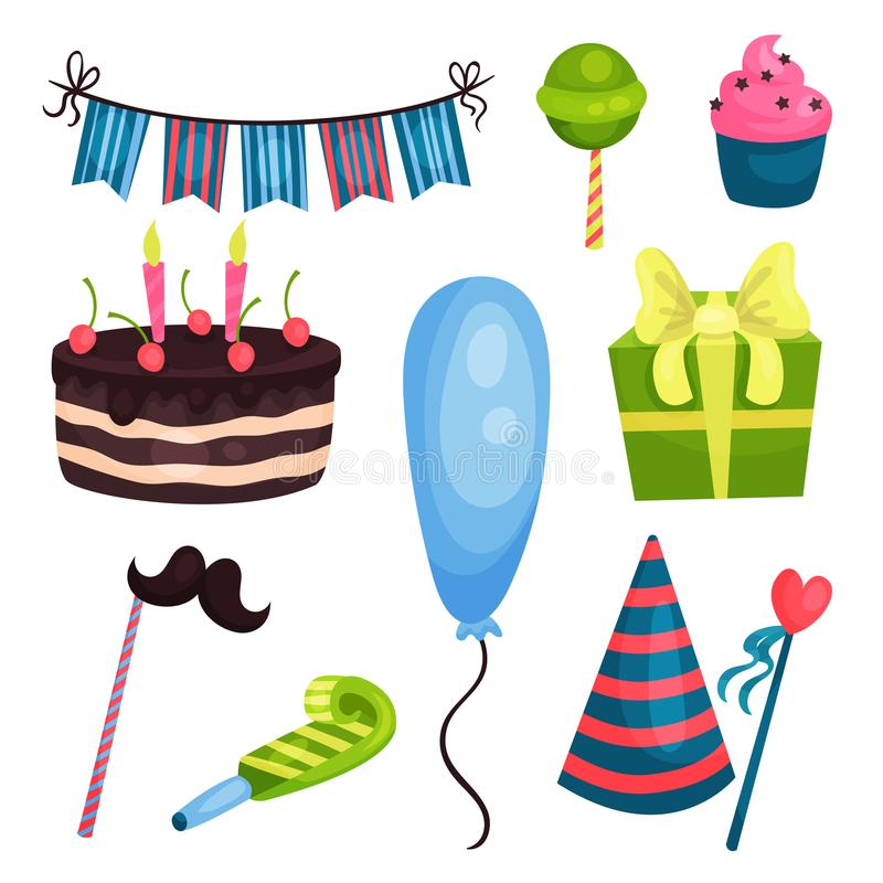 Flat vector set of birthday party elements. Cake, gift box, pipe, blue glossy balloon, cone hat, mustache and heart on royalty free illustration