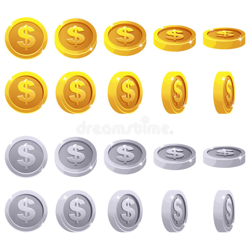 Cartoon set of 3D metallic coins, vector animation game rotation stock illustration