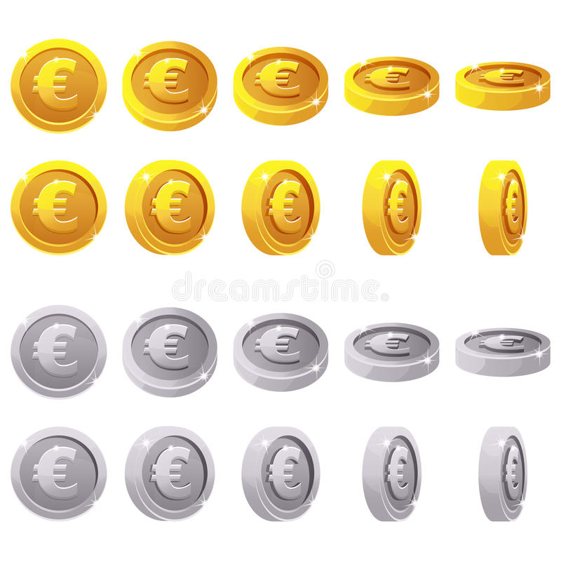 Cartoon set of 3D metallic coins, vector animation game rotation royalty free illustration