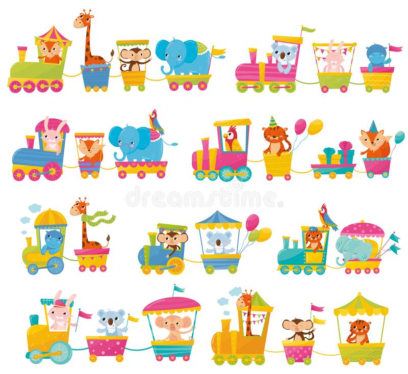 Cartoon set with different animals on trains. Fox, giraffe, monkey, elephant, koala, bunny, tiger, behemoth, parrot. Elements for postcard, book or print stock illustration